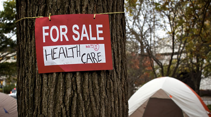 A protest sign in the Occupy Ottawa camp. It reads FOR SALE: HEALTH CARE'